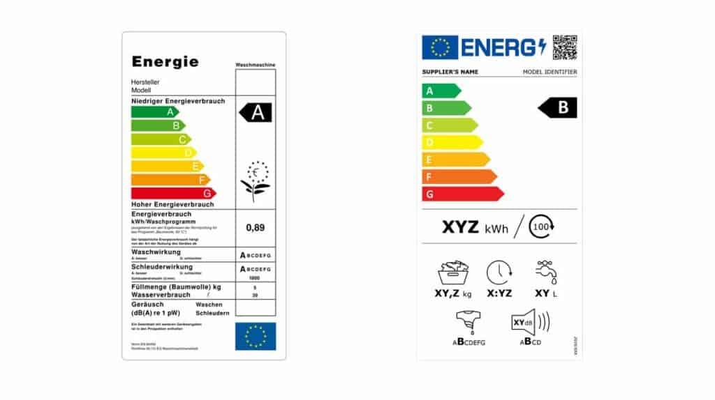Energielabel für Elektrogeräte Alt und Neu